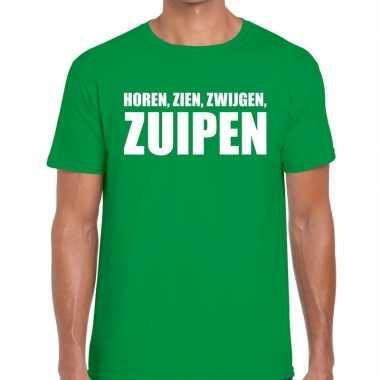 Horen zien zwijgen zuipen fun t-shirt groen voor heren