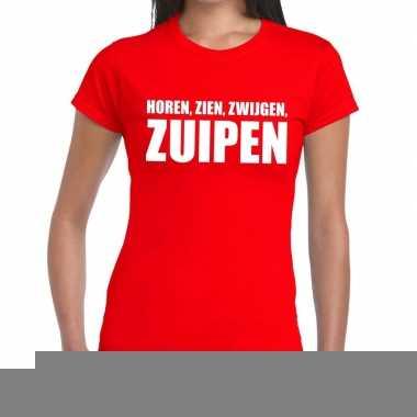 Horen zien zwijgen zuipen fun t-shirt rood voor dames