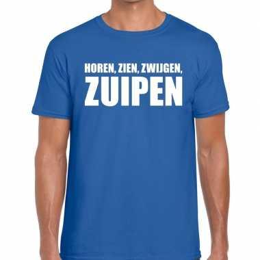Horen zien zwijgen zuipen fun t-shirt voor heren blauw