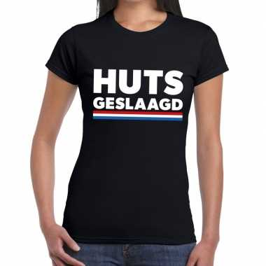Huts geslaagd fun t-shirt zwart voor dames