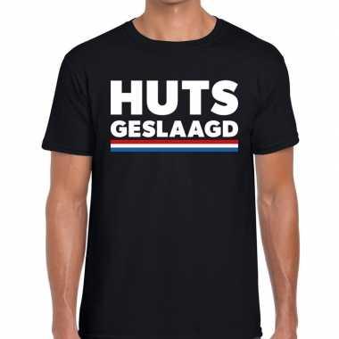 Huts geslaagd met vlagfun tekst t-shirt zwart voor heren