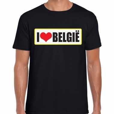 I love belgie landen shirt met bordje in de kleuren van de belgische vlag zwart voor heren