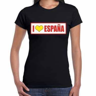 I love espana / spanje landen shirt met bordje in de kleuren van de spaanse vlag zwart voor dames