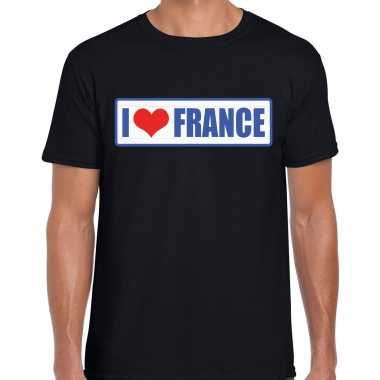 I love france / frankrijk landen shirt met bordje in de kleuren van de franse vlag zwart voor heren