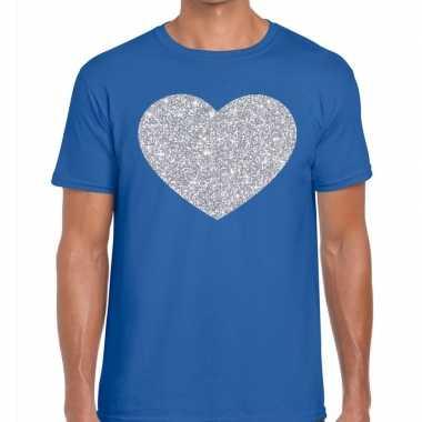 I love fun t-shirt blauw met zilveren bedrukking voor heren