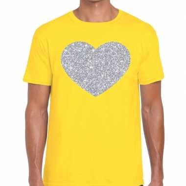 I love fun t-shirt geel met zilveren bedrukking voor heren