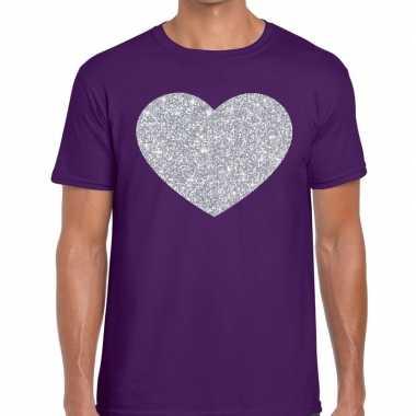 I love fun t-shirt paars met zilveren bedrukking voor heren
