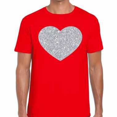 I love fun t-shirt rood met zilveren bedrukking voor heren