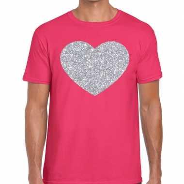 I love fun t-shirt roze met zilveren bedrukking voor heren