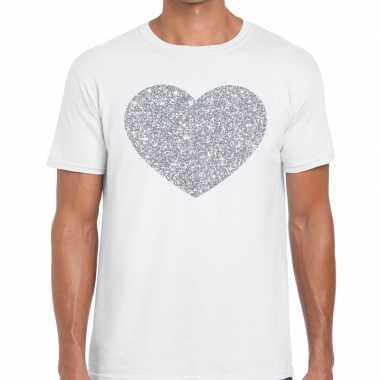 I love fun t-shirt wit met zilveren bedrukking voor heren