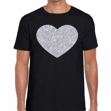 I love fun t-shirt zwart met zilveren bedrukking voor heren
