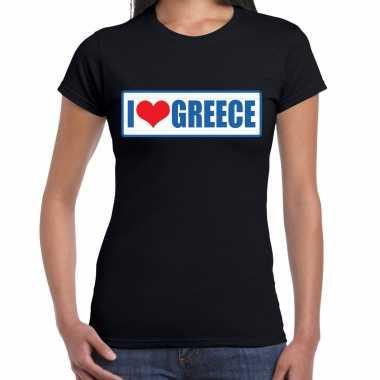 I love greece / griekenland landen shirt met bordje in de kleuren van de griekse vlag zwart voor dames