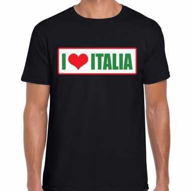 I love italia / italie landen shirt met bordje in de kleuren van de italiaanse vlag zwart voor heren