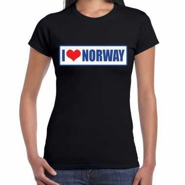 I love norway / noorwegen landen shirt met bordje in de kleuren van de noorse vlag zwart voor dames