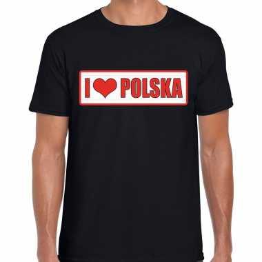 I love polska / polen landen shirt met bordje in de kleuren van de poolse vlag zwart voor heren