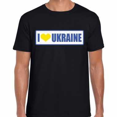 I love ukraine / oekraine landen shirt met bordje in de kleuren van de oekraiense vlag zwart voor heren