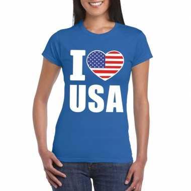 I love usa - amerika supporter shirt blauw dames