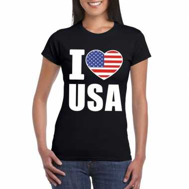 I love usa - amerika supporter shirt zwart dames