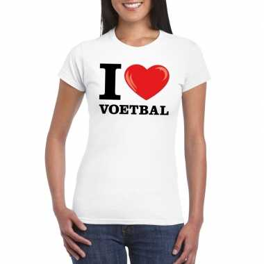 I love voetbal t-shirt wit dames