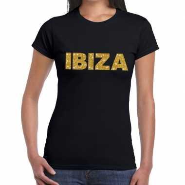 Ibiza gouden letters fun t-shirt zwart voor dames