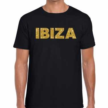Ibiza gouden letters fun t-shirt zwart voor heren