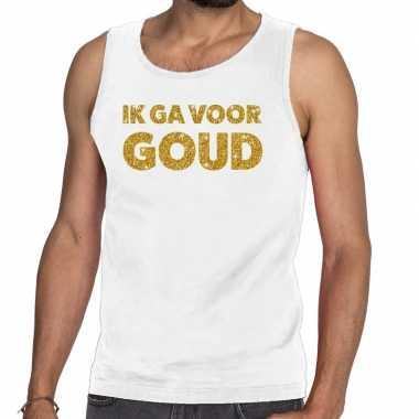 Ik ga voor goud fun tanktop / mouwloos shirt wit voor heren