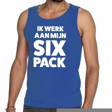 Ik werk aan mijn six pack fun tanktop / mouwloos shirt blauw voor her