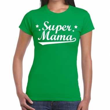 Kadoshirt super mama groen voor dames