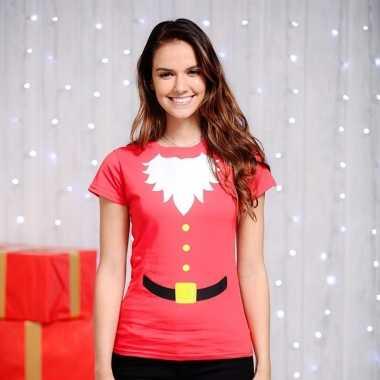 Kerstman t-shirt rood voor dames