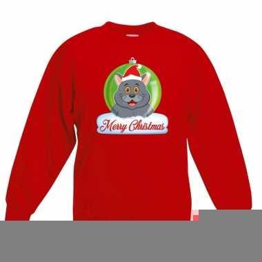 Kersttrui S.Kersttrui Grijze Kat Poes Kerstbal Zwart Voor Jongens En Meisjes