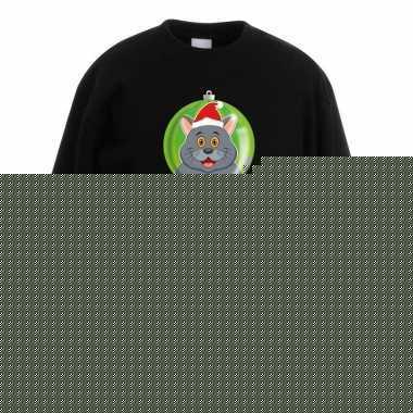 Kersttrui grijze kat / poes kerstbal zwart voor jongens en meisjes
