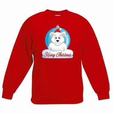 Kersttrui ijsbeer kerstbal rood voor jongens en meisjes