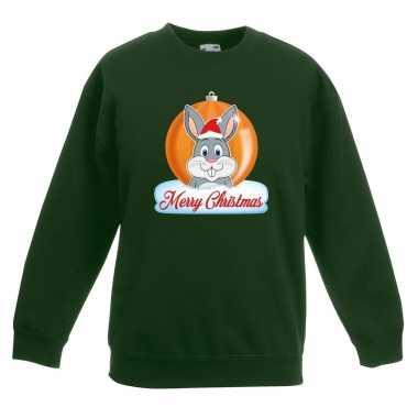 Kersttrui konijn kerstbal groen voor jongens en meisjes