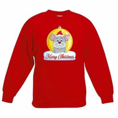 Kersttrui muis kerstbal rood voor jongens en meisjes