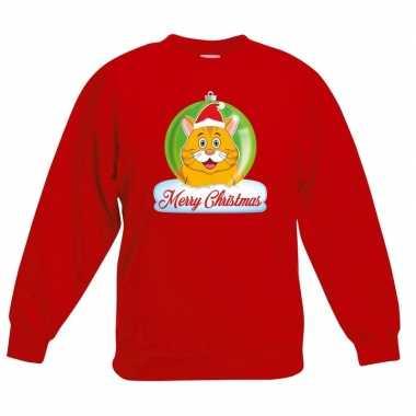 Kersttrui oranje kat / poes kerstbal rood voor jongens en meisjes