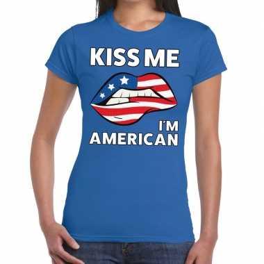 Kiss me i am american blauw fun-t shirt voor dames