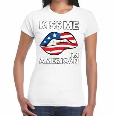 Kiss me i am american wit fun-t shirt voor dames