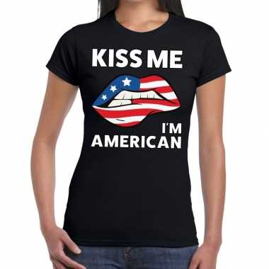 Kiss me i am american zwart fun-t shirt voor dames