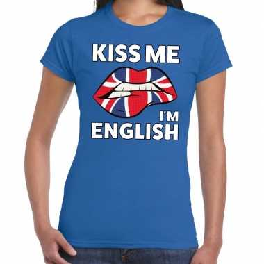 Kiss me i am english blauw fun-t shirt voor dames
