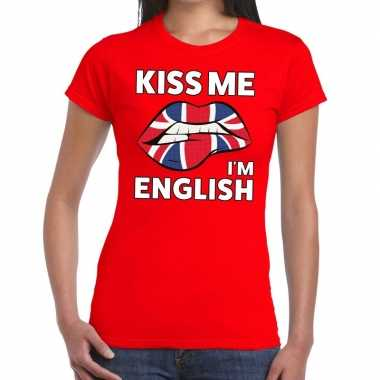Kiss me i am english rood fun-t shirt voor dames