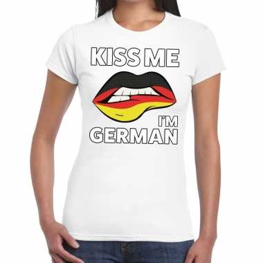Kiss me i am german wit fun-t shirt voor dames