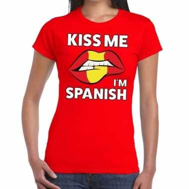 Kiss me i am spanish rood fun-t shirt voor dames