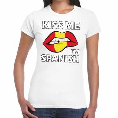 Kiss me i am spanish wit fun-t shirt voor dames