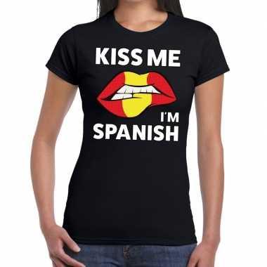 Kiss me i am spanish zwart fun-t shirt voor dames