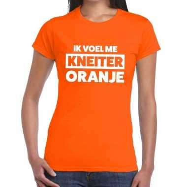Koningsdag fun t-shirt ik voel me kneiter oranje dames