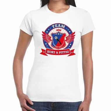 Kort en pittig team t-shirt wit dames