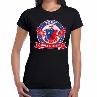 Kort en pittig team t-shirt zwart dames