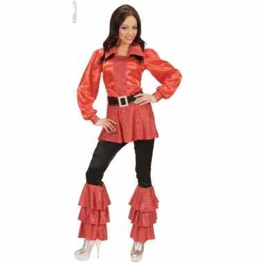 Lange dames shirts rood met pailletten