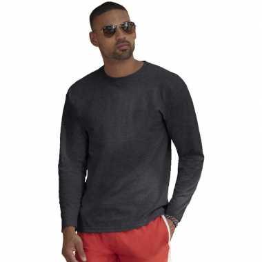 Lange mouwen stretch t-shirt donkergrijs voor heren