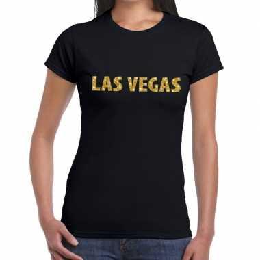 Las vegas gouden letters fun t-shirt zwart voor dames